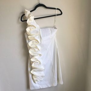 Ivory Ruffle front One Shoulder Dress